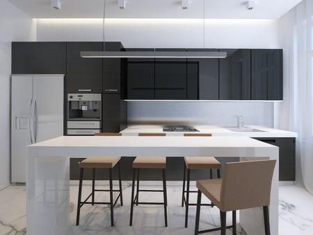 3D illustration modern kitchen, minimalistic interior design Stok Fotoğraf