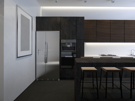 3D illustration kitchen with stone facade Imagens