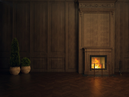 fireplace in the room panelled in wood Foto de archivo - 116776420