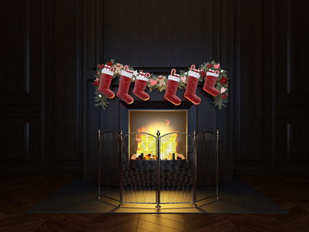 Christmas Stocking on Fireplace, decorated for Christmas and New year Foto de archivo - 116776421
