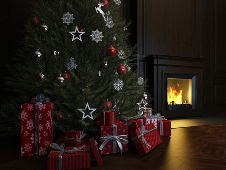 Christmas Interior, Xmas Tree Fireplace Light Foto de archivo - 116775859