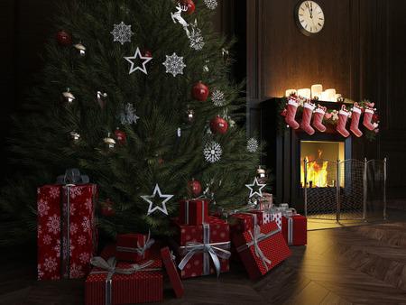 3d rendering Christmas Interior, Xmas Tree Fireplace Light