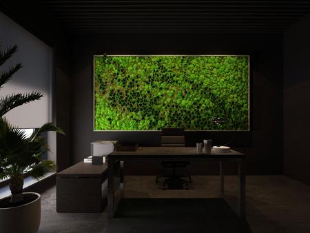 3d rendering green wall in modern office