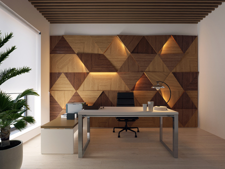 3d rendering wood wall panels on the wall and desktop