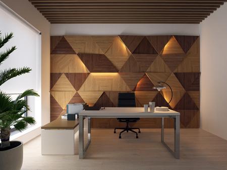 3d rendering wood wall panels on the wall and desktop Foto de archivo - 116775864