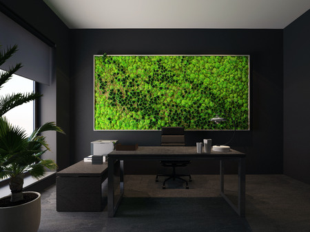 green wall in modern office. 3d rendering
