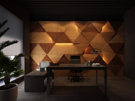 wood wall panels, desktop in black office. 3d rendering