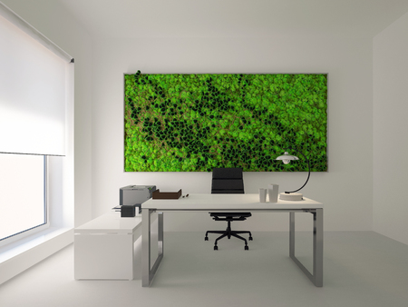 green wall in modern white office. 3d rendering Foto de archivo - 116775870