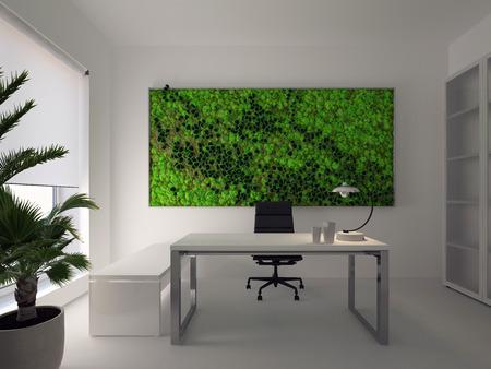 green wall in modern white office. 3d rendering Stok Fotoğraf