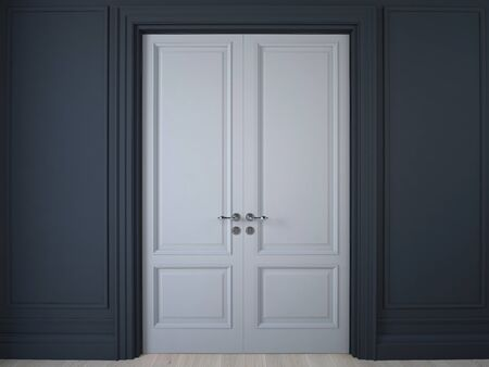 3D illustration. Dark wall with panelling and double doors