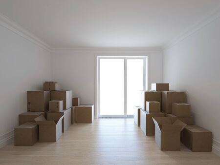 Interior with packed cardboard boxes for moving to a new place. 3d image