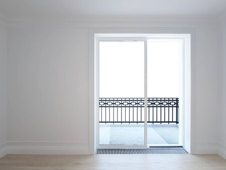 White room with balcony in new home - 3D image Imagens