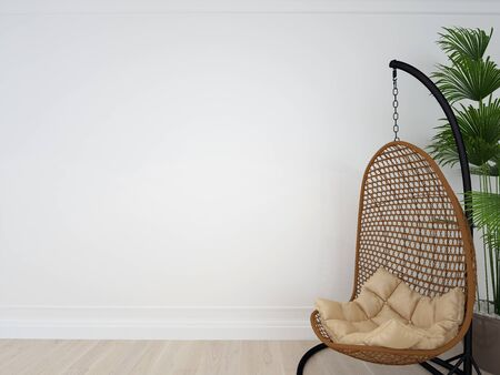 Interior wall mock up with chair, plant in living room with empty white wall. Wall art.. 3d image Stok Fotoğraf