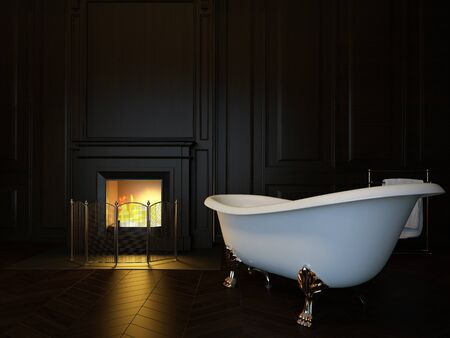Dark luxury bathroom interior with bathtub and fireplace. 3d image