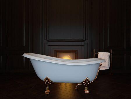 Dunkles Luxusbadezimmer mit Badewanne und Kamin. 3D-Bild