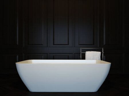 Dark luxury bathroom interior with bathtub. 3d image