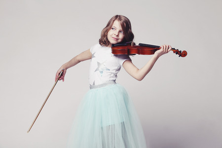 woman violin: Baby girl with violin on white background