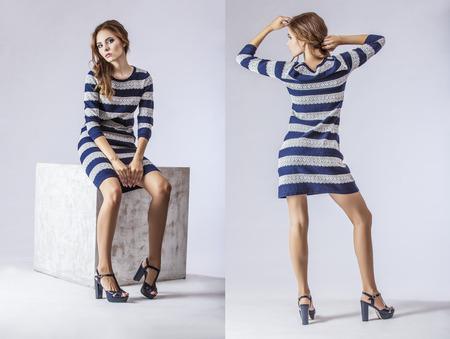 Fashion model mooie vrouw Studio fotografie. Mode, schoonheid, sexy, make-up, kleding, lachen.