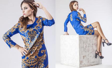 Fashion model mooie vrouw Studio fotografie. Mode, schoonheid, sexy, make-up, kleding. Stockfoto