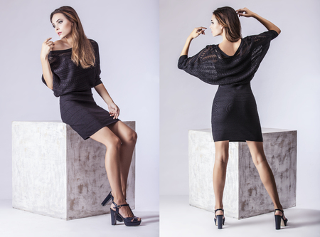 poses: Fashion model beautiful woman Studio photography. Fashion, beauty, sexy, makeup, clothing, laugh
