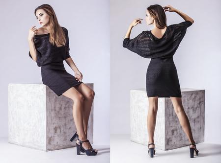 Fashion model mooie vrouw Studio fotografie. Mode, schoonheid, sexy, make-up, kleding, lachen