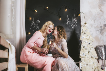Two women with beautiful happy smiles to celebrate Christmas together at home