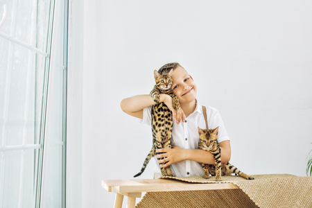 Fashionable child boy beautiful and happy with little cute Bengal kittens together Reklamní fotografie