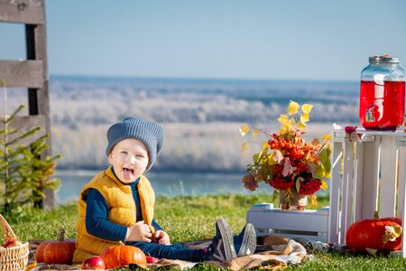 Happy and beautiful little baby boy outdoors on picnic with plaid, pumpkins and autumn decorations