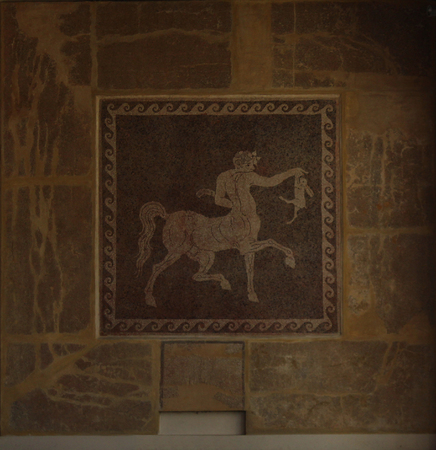 cultural artifacts: the ancient Greek fresco on the wall