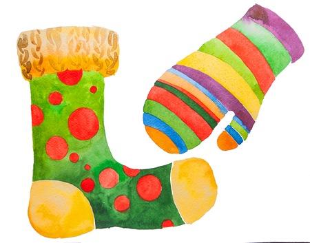 Retro cartoon christmas stocking stocking and mitten. Stock Photo