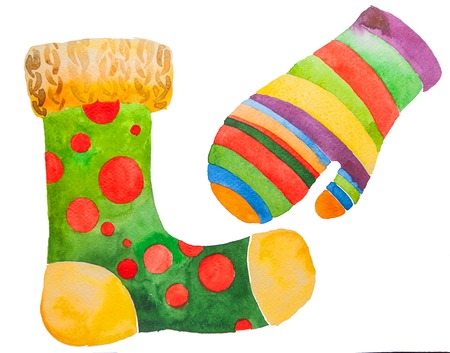 Retro cartoon christmas stocking stocking and mitten. Stock Photo