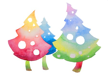 Painted Christmas Tree Isolated on White Background.