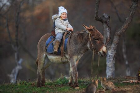Girl riding on a donkey. Equestrian therapy. ?hild in warm clothes with a burro.
