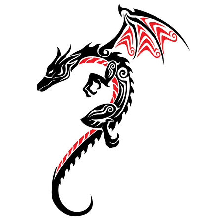 tribal dragon: dragon tribal tattoo Illustration