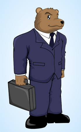 bearish business: A businessman bear cartoon