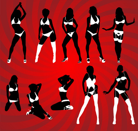 Silhouette of woman in sexy lingerie Stock Vector - 5439489