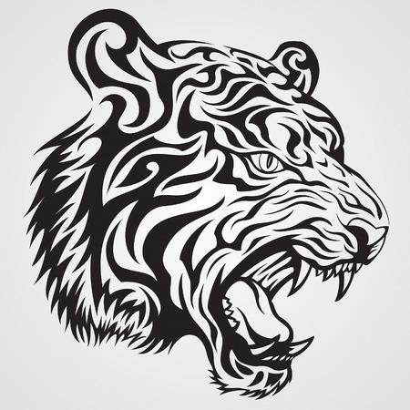 Tijger Face Tattoo1 Stock Illustratie