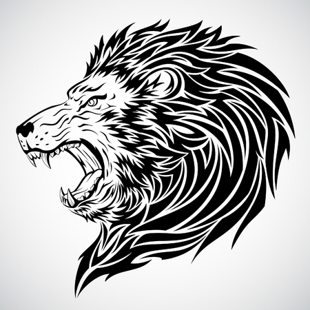 fangs: Lion Roar Tattoo Illustration