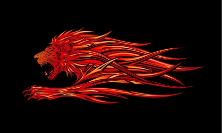 Flame Lion Stock Vector - 7839541