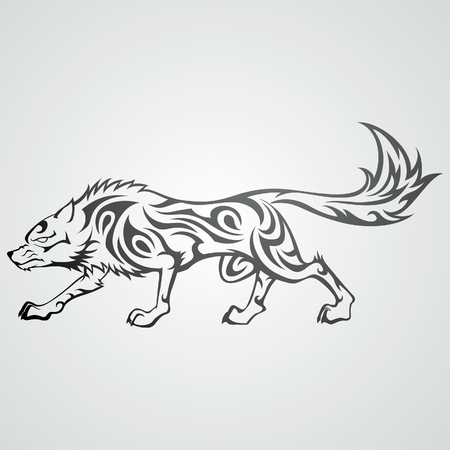 beauty and the beast: Wolf Tattoo Illustration