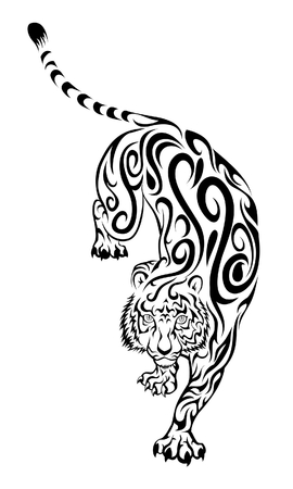tattoo: Tiger Swirl Tattoo Illustration
