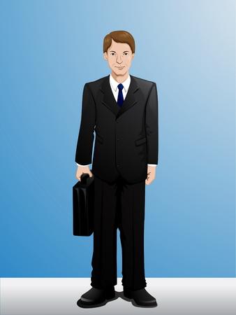 ternos: Desenhos animados do homem de neg Ilustra��o