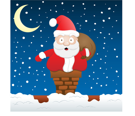 Santa vast zit ten op Chimney  Stock Illustratie