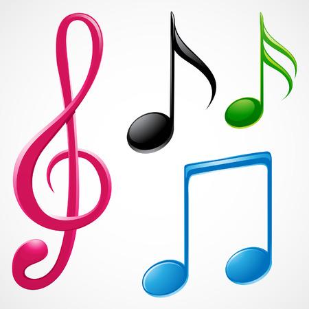 notas musicales: ilustraci�n vectorial de coloridas notas