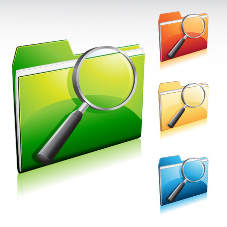 vector illustration of a search folder icon with color variations