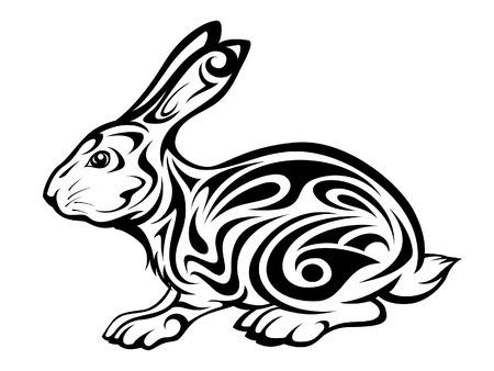 vector illustration of a tribal rabbit tattoo