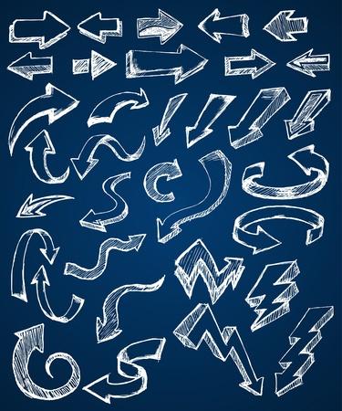 flecha derecha: Flecha Doodle Vectores