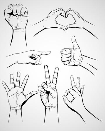 manos: Conjunto de gesto de mano Vectores