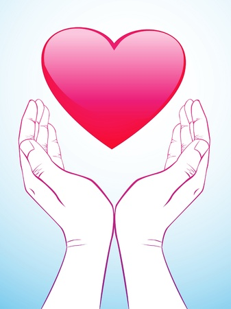 Hand Holding Heart Stock Vector - 9155545