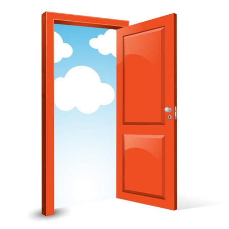 entrance door: Opened Door to the Sky Illustration
